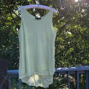 Suzanne Betro Lime Green Sleeveless Blouse L NEW